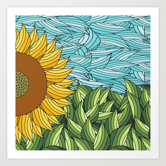 SUNNY DAY (abstract flowers) Art Print