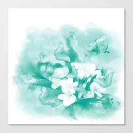 Butterflies and tropical flowers in stunning teal Canvas Print
