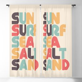 Retro Sun Surf Sea Salt Sand Typography Blackout Curtain