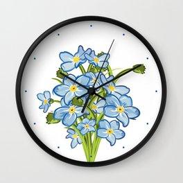 Spring Bouquet of Blue Myosotis Wall Clock