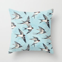 Blue Sky Swallow Flight Throw Pillow