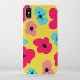 Funky poppies (golden background) iPhone Case