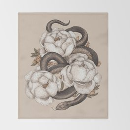 Snake and Peonies Throw Blanket