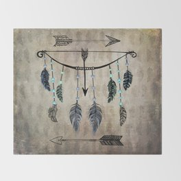 Bow, Arrow, and Feathers Throw Blanket