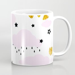 Pink Clouds Gold Hearts Black Stars Coffee Mug