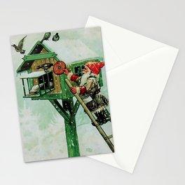 """Feeding Winter Birds"" Elves by Jenny Nystrom Stationery Cards"