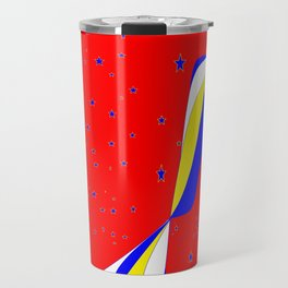 White, Blue and Yellow Stripes with Stars Travel Mug