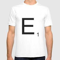 Scrabble E MEDIUM Mens Fitted Tee White