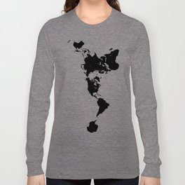 Dymaxion World Map (Fuller Projection Map) - Minimalist Black on White Long Sleeve T-shirt