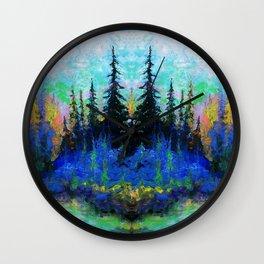 Blue Spruce Island Abstract Art Wall Clock