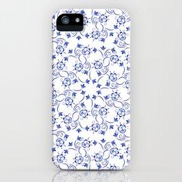 Dense pattern of blue flowers iPhone Case