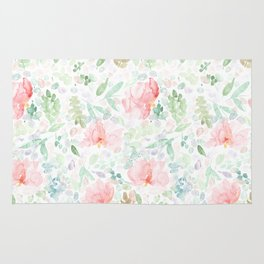 Watery Painted Floral Pattern Rug