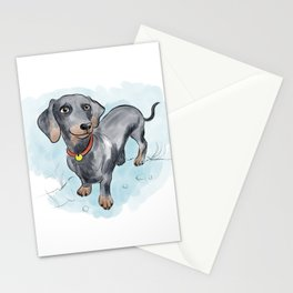 Cute Dachshund illustration Stationery Cards