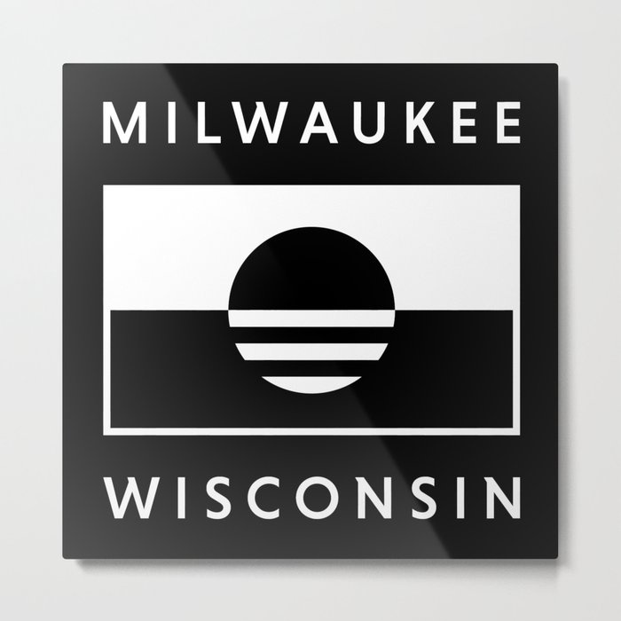 Milwaukee Wisconsin - Black - People's Flag of Milwaukee Metal Print