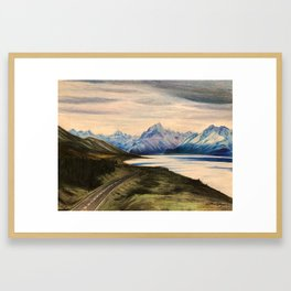 Lake view - lake Pukaki NZ Framed Art Print