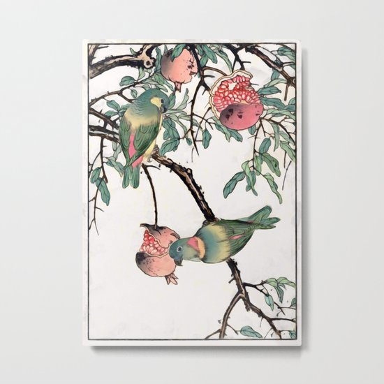 Pomegranate and Lovebirds Metal Print