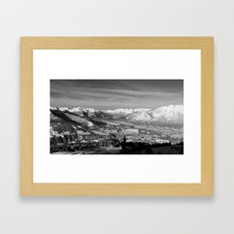 Innsbruck In Winter From Patscherkofel Mountain black white Framed Art Print