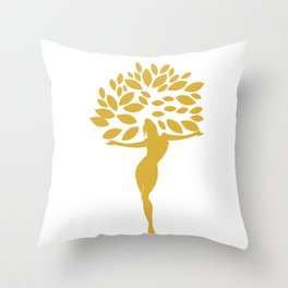 Golden Girl with leaves Throw Pillow