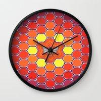 sacred geometry Wall Clocks featuring Bee Sacred Geometry by Elspeth McLean