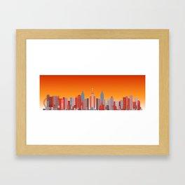 Future Cityscape 001 // Sunset Framed Art Print