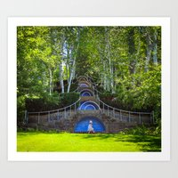 Blue Steps at Naumkeag Art Print