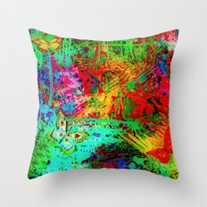 BUTTERFLY FEVER - Bold Rainbow Butterflies Fairy Garden Magical Bright Abstract Acrylic Painting Throw Pillow