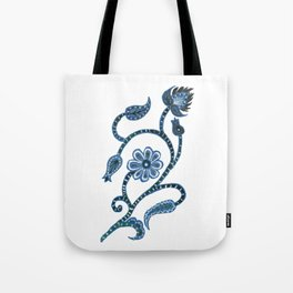 Blue Paisley Doodle-right facing Tote Bag
