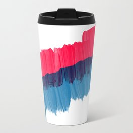 Modern brushstrokes red blue watercolor stripes Travel Mug