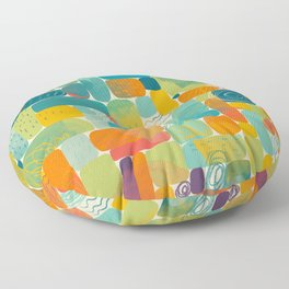 Paint splashes abstract geometric shapes. Colorful hand painted illustration pattern Floor Pillow