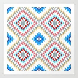 Colorful patchwork mosaic oriental kilim rug with traditional folk geometric ornament Art Print