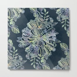 Floral Doodle Metal Print