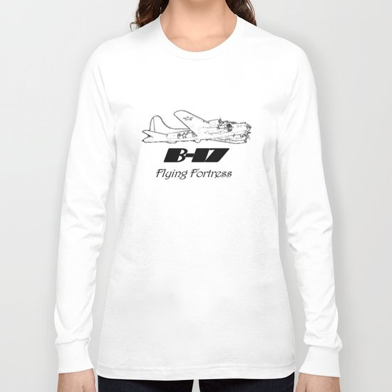 B-17 line drawing Long Sleeve T-shirt