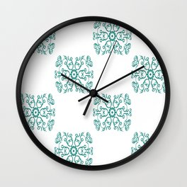 Abstract Swirls and Spirals Tile Design Wall Clock