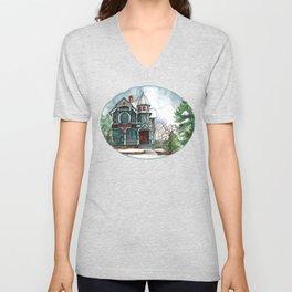 Blue House on a Grey Day Unisex V-Neck