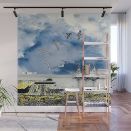 silver ships and golden dock Wall Mural