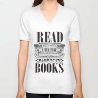 literature V-neck T-shirts featuring Literature Poster by Ryan Huddle House of H