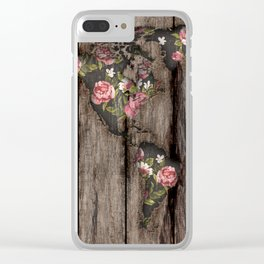 Wood Flowers Mapamundi Clear iPhone Case