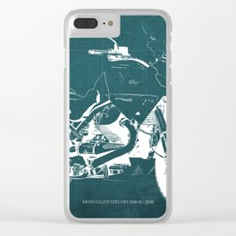 2010 Moto Guzzi Stelvio 1200 4V blue blueprint Clear iPhone Case