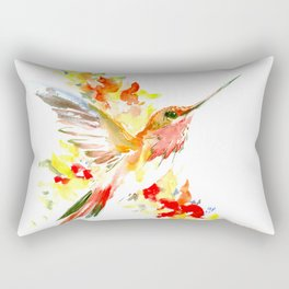 Hummingbird and Flame Colored Flowers, yellow red floral art design Rectangular Pillow