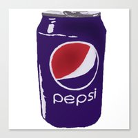 popart Canvas Prints featuring pepsi popart by LittleAnomaly