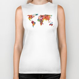 Map of The World 2 -Colorful Abstract Art Biker Tank