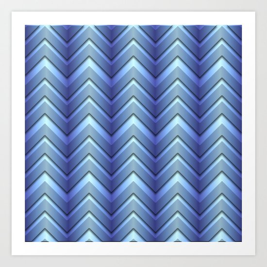 Chevrons, Blue Ombre Art Print