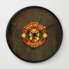 FC Manchester United metal background Wall Clock
