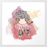 ELEPHANT BALLERINA Art Print