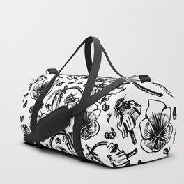 B/W flowers Duffle Bag