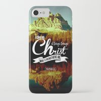 bible verses iPhone & iPod Cases featuring Typographic Motivational Bible Verses - Philippians 4:13 by The Wooden Tree