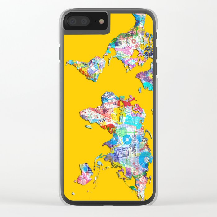 world map music art 1 Clear iPhone Case
