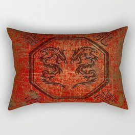 Distressed Dueling Dragons in Octagon Frame With Chinese Dragon Characters Rectangular Pillow