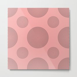 Dotted Circles Pink Peach Metal Print