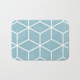 Light Blue and White - Geometric Textured Cube Design Bath Mat
